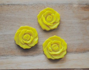 SALE -  Large Cabochon Resin Flower Charm / Pendant - Set of 3- Yellow