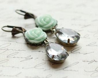 Mint Crystal Earrings - Bridesmaid Earrings - Rose Earrings - Vintage Mint Green Wedding - Estate Style Earrings - Mint Wedding Earrings