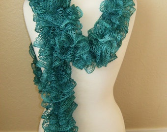 Handmade Knitted Soft Ruffled Lace Boa Scarf Malachite Green With Sparkle