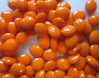Orange Faceted Oval Acrylic Beads 12mm 20 Beads