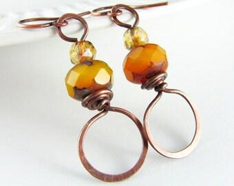 Wire Wrapped Earrings Copper Wire Orange Czech Picasso Wire Wrapped Jewelry Copper Jewelry Hoop Earrings