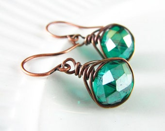 Wire Wrapped Earrings Teal Crystal Copper Earrings Wire Wrapped Jewelry Copper Wire Teal Earrings Herringbone Wrapped