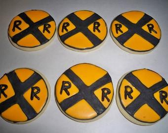 Train Railroad Crossing Sugar Cookies