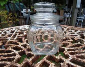 Vintage Tapered Glass Jar Small With Lid 1960s Clear Canister Storage Airtight