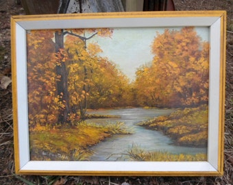 Vintage 1960s Barre Vermont Painting By W. Fontana Fall/Autumn Wall Hanging Horizontal Yellow/Gold In Wooden Yellow/White Frame 9x12