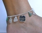 Sea glass anklet. Beach glass charm anklet. Sea glass jewelry.