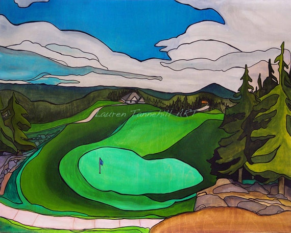 8x10 Giclee Print Golf Course Painting with Pine Trees by Lauren Tannehill ART