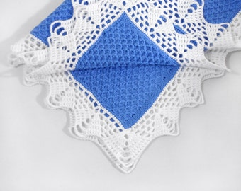 Knitted Baby Blanket - Blue and White