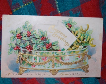Antique Embossed Christmas Post Card of Christmas Greetings in a Gilded Bowl of Holly Berries and Mistletoe No Postmark   Epsteam