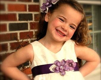 Flower Girl Sash and Hair Pin Set - Lavender Purple Silk Flower Headband and Belt for Wedding, Pageant