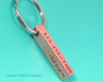 Custom Hand Stamped 4-sided Pet ID Tag Bar- Add Name, Phone Number, Address- In Aluminum Brass or Copper