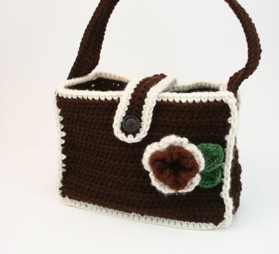 PDF DIGITAL PATTERN:Crochet Bag Pattern,Crochet Handbag Pattern,Crochet Tote Pattern,Crochet Tote Bag Pattern,Crochet Bag,Brown Bag,Computer