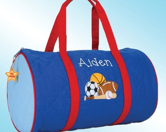Quilted Duffle Bag - Personalized and Embroidered - SPORTS
