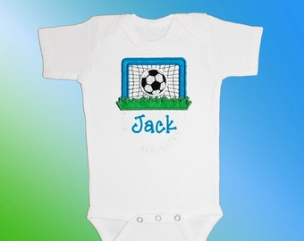 Bodysuit Baby Clothes - Personalized Applique - Soccer Goal - Embroidered Short or Long Sleeved  - Free Shipping