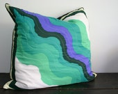 SALE- Gigantic Green and Blue Vintage Scarf Floor Pillow