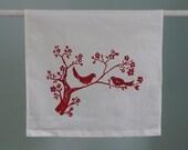red love birds tea towel on white cotton