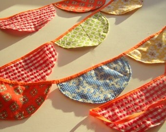 Fabric Scalloped Banner, Bunting, Banner, Half Circle Party Banner Flag Banner, Kids Room Decor