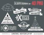 Christmas clipart Chalkboard, Christmas clip art, New Year clipart, digital clip art, holiday greetings, merry christmas  - 623