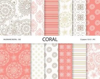 Coral Digital Paper, floral digital paper, wedding papers, scrapbook paper, scrapbooking - 592