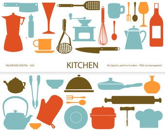Kitchen clipart's, retro kitchen utensils, scrapbook supplies, clipart, clip art, instant download 634