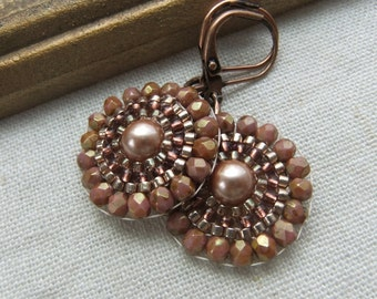 Tapestry Beadwork Earrings in Rose Gold