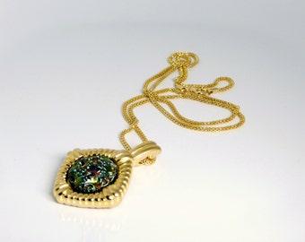 Vintage KJL Colorful Carved Art Glass Pendant Necklace
