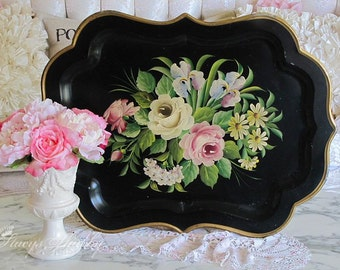 Huge Gorgeous Vintage ROSES TOLE TRAY, Pink Roses, Hand Painted, Pilgrim Art, Farmhouse Style