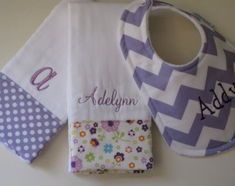 Monogrammed Baby Girl Bib and 2 Burp Cloths Set