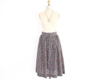 50s 60s Calico Skirt, Cotton Floral Ditsy Print Dirndl Boho prairie peasant basic black high waist gathered office lolita full frock skirt