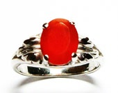 "Carnelian ring, solitaire ring, orange leaf ring, orange ring, orange,  s 6 1/2    ""Orange Orange"""