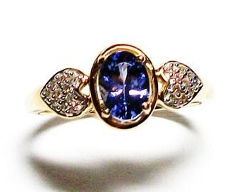 """Tanzanite ring, 10k engagement ring, wedding ring, diamond ring,  blue, blue ring, s 8   """"Electric Blue"""""""