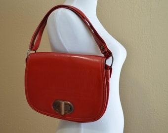 Vintage 70 Red Pleather Purse