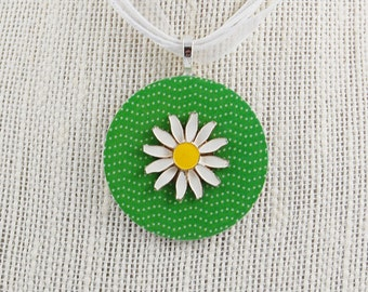 Handmade Upcycled Washer Necklace - Green and White Polka Dot with Vintage Daisy Earring