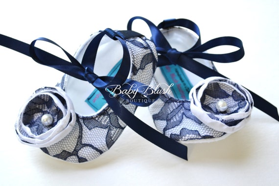 Items similar to Navy Blue Lace on White Vintage Baby