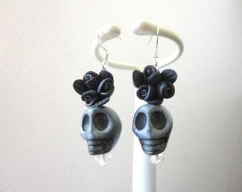 Day Of The Dead Earrings Sugar Skull Dangle Gray Black Rose Flower
