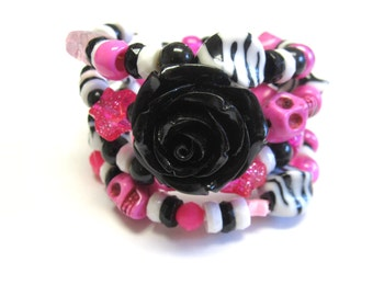 Day Of The Dead Bracelet Sugar Skull Wrap Cuff Hot Pink White Black Rose