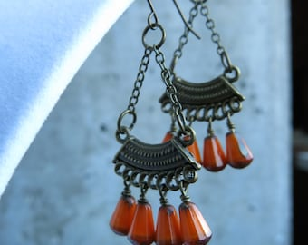 Orange & Antique Gold Dangle Earrings