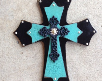Large Turquoise Western Wood Wall Cross