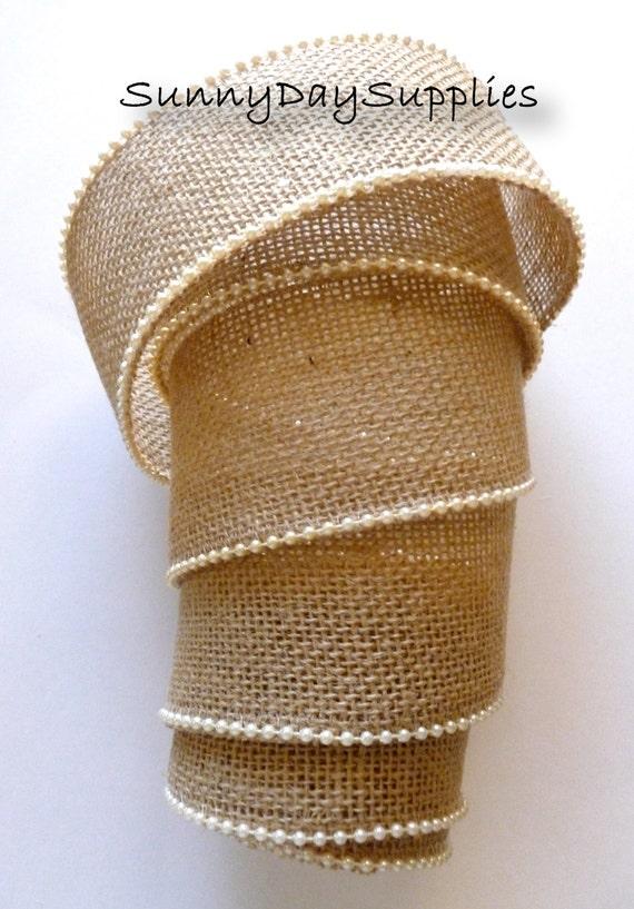 Burlap And Pearls Ribbon Jute Natural Tan Jute And Ivory