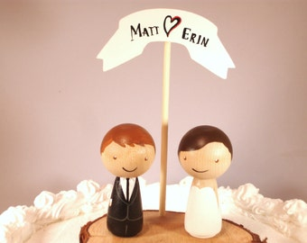 Kokeshi Wedding Cake Topper with Rustic Tree Slice Base and Wooden Base - Custom Cake Topper - Personalized just for you