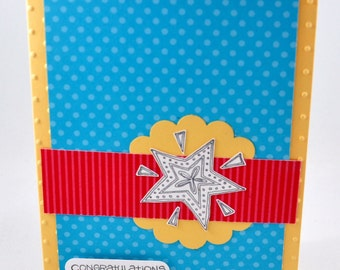 Congratulations Card, Greeting Card, Graduation, School, All Occasion, Blue, Red, Yellow, Star, Stamped, Polka Dots, Stripes