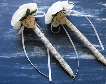 Set Of Two Flower  Lace Wedding Pens for your Guestbook Rustic Woodland Vintage Inspired Country Cottage