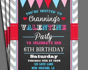 Valentine's Invitation Printable or Printed with FREE SHIPPING - Chalkboard Love Collection - Valentine's Birthday, Valentine's Party