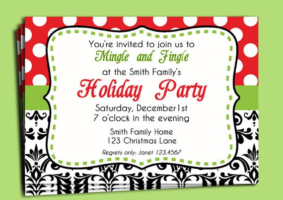 Christmas Party Invitation Printable Modern Funky and Fun – Fun Party Invitation Wording