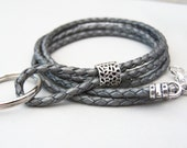 Silver Leather Id Lanyard, Leather Keychain, 26 to 36 Inches, 3mm Cord, Eyeglass Lanyard, ID/Badge Holder,