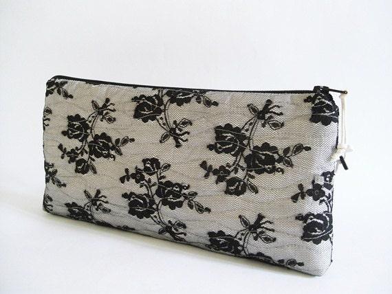 Black Lace Clutch, Wedding Lace Clutch, Black Lace Roses, Romantic Evening Handbag, Modern Goth Clutch