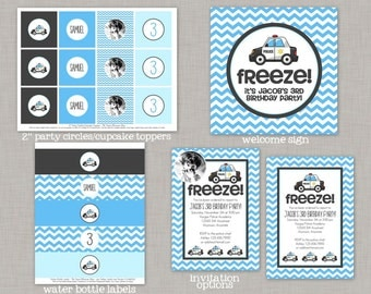 Police Birthday Party, Police Birthday Decorations, Police Birthday, Police Car, Police Party, Cops and Robbers, Printable Party