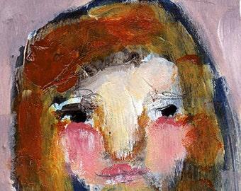 """Aubrey - 3x4"""" Original Mixed Media portrait"""