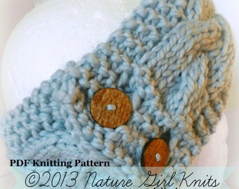 PDF KNITTING PATTERN // Chunky Cable Knit Ear Warmer // Instant Download