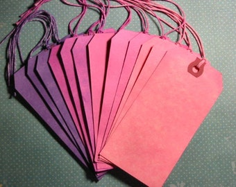 Hand Dyed Tags - Set of 12 - Pinks/Purples